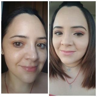 antes y despues con polvo base Younique