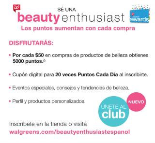 Beneficios programa belleza Walgreens
