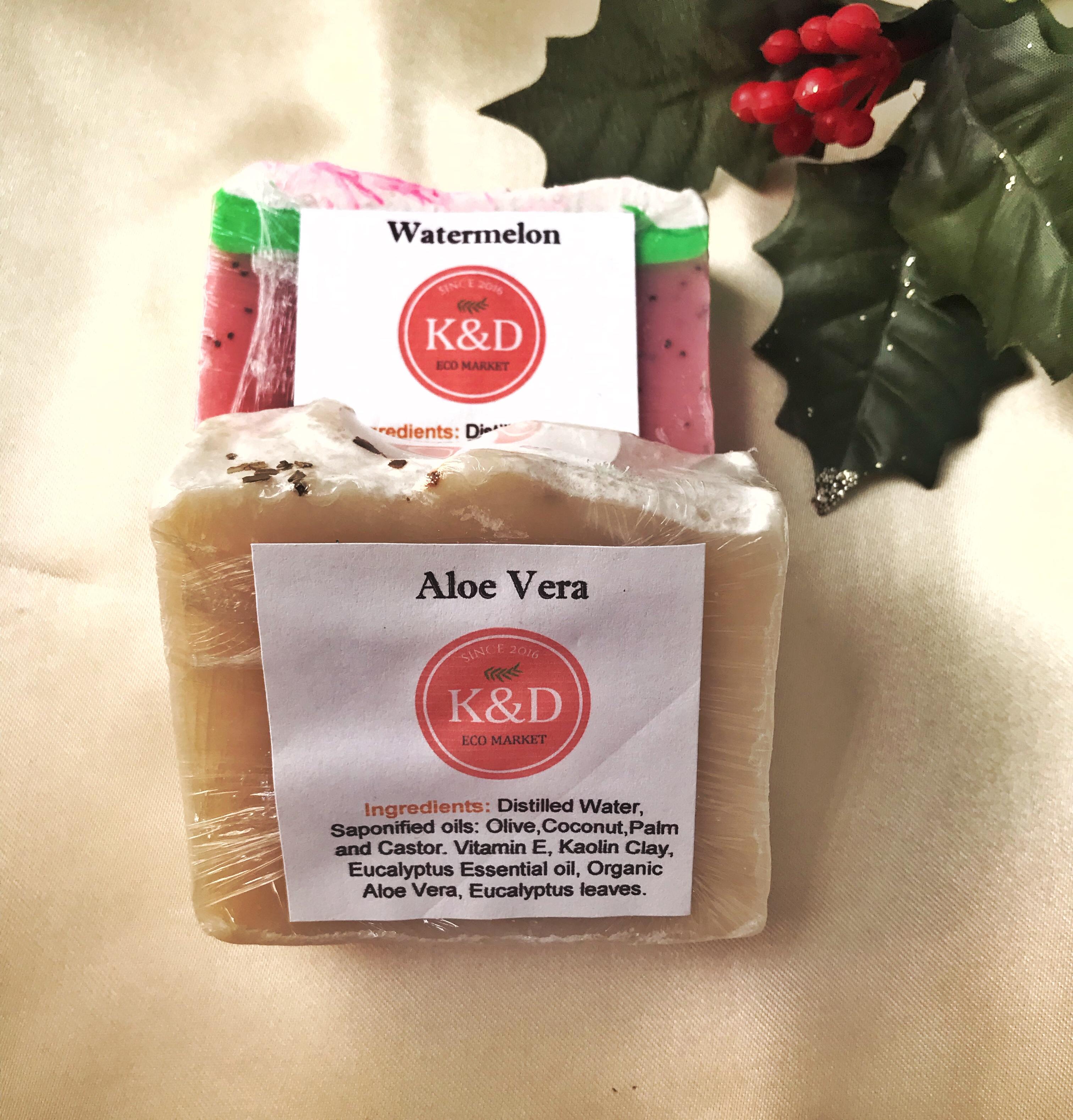 jabones artesanales de aloe vera y watermelon k&d ecomarket