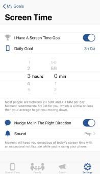 tiempo uso en app moment